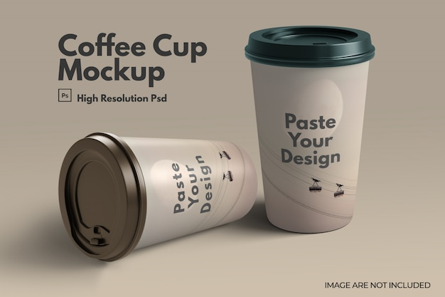 Tire a maquete do copo de café de papel