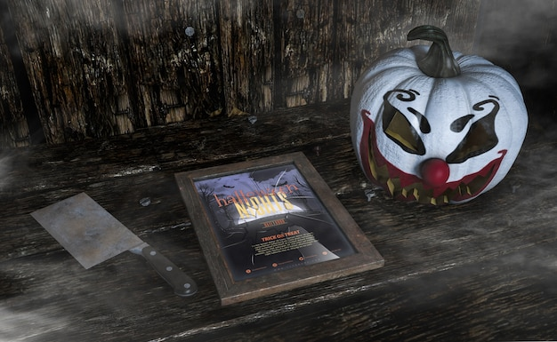 Tiro de alta vista de abóbora de palhaço assustador e quadro de noites de halloween