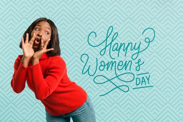 Tiro médio mulher posando no dia da mulher