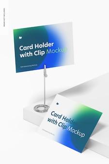 Titular do cartão com modelo de clipe de jacaré, vista direita