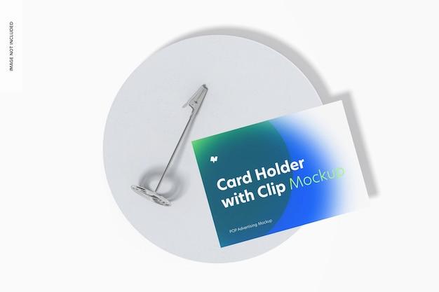 Titular do cartão com modelo de clipe de jacaré, vista superior