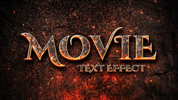 Título cinematográfico com modelo de efeito de texto de fogo