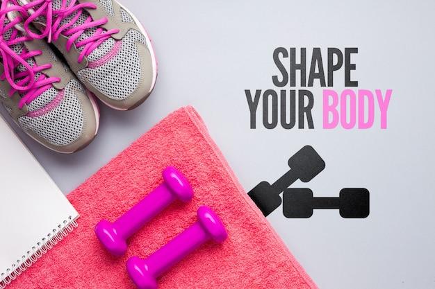 Toalha e equipamento para aulas de fitness