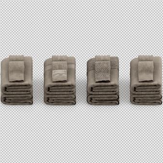 Toalhas dobradas 3d isolado render