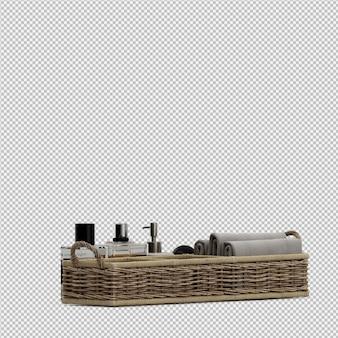 Toalhas dobradas em cestos e frascos de cosméticos