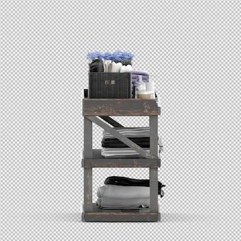 Toalhas em um rack de madeira 3d isolado render