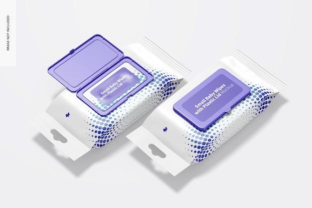 Toalhetes pequenos com maquete de embalagem de tampa de plástico, perspectiva