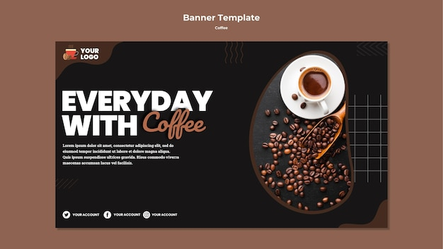 Todos os dias com modelo de banner de café