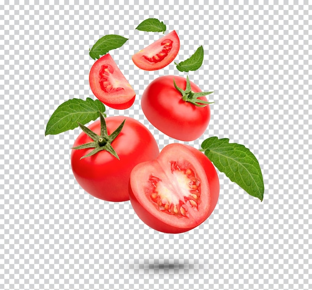 Tomates frescos com folhas isoladas