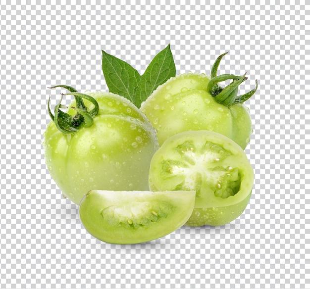Tomates verdes frescos com folhas