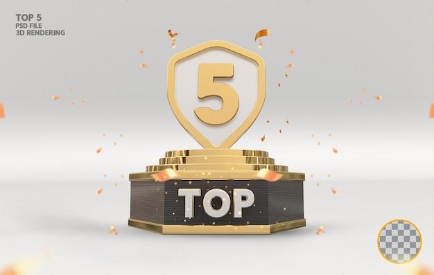 Top 5 de melhor prêmio de pódio com renderização 3d dourada