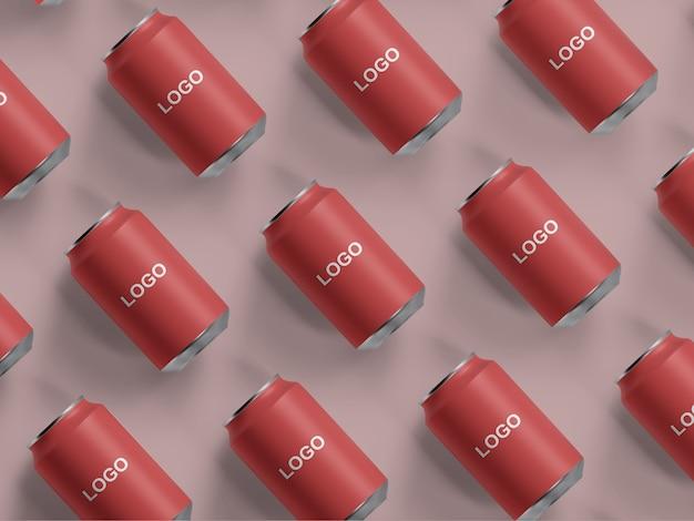 Top view mockup de lata de refrigerante