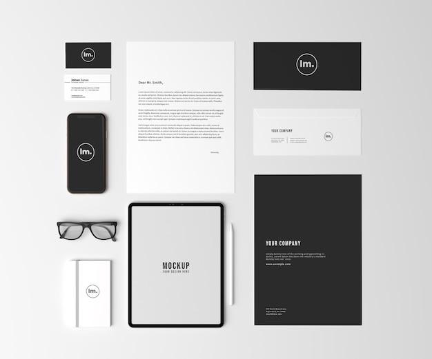 Top view papelaria e branding mockup design