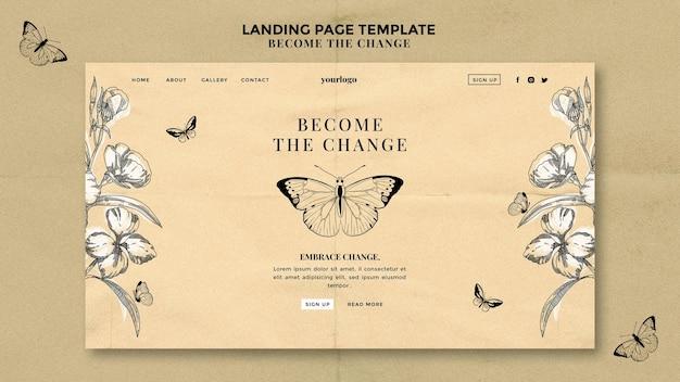 Torne-se a página de destino da borboleta da mudança