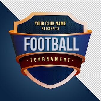 Torneio de futebol com renderização 3d shield isolada
