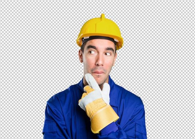 Trabalhador atônito que quer saber no fundo branco