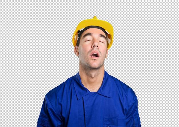 Trabalhador cansado no fundo branco