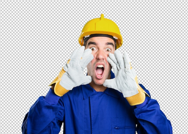 Trabalhador estressado gritando no fundo branco