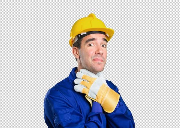 Trabalhador estressado no fundo branco