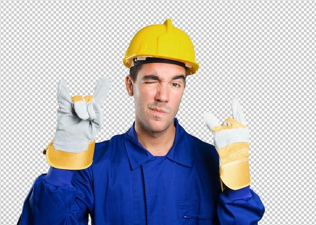 Trabalhador impertinente em fundo branco