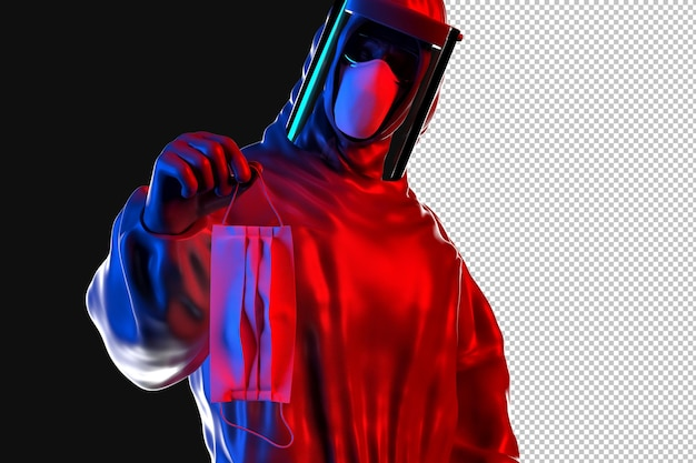 Trabalhador médico em traje anti-risco segurando máscara protetora