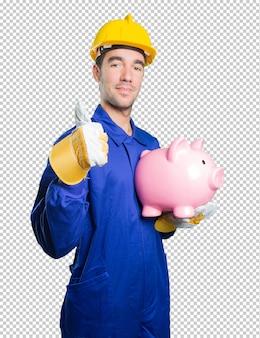 Trabalhador preocupado com sua economia no fundo branco