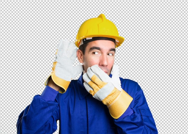 Trabalhador safado tentando ouvir sobre fundo branco