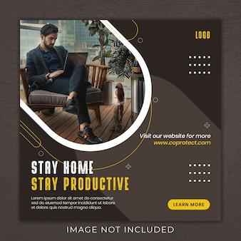 Trabalhando em casa mídia social instagram post banner template