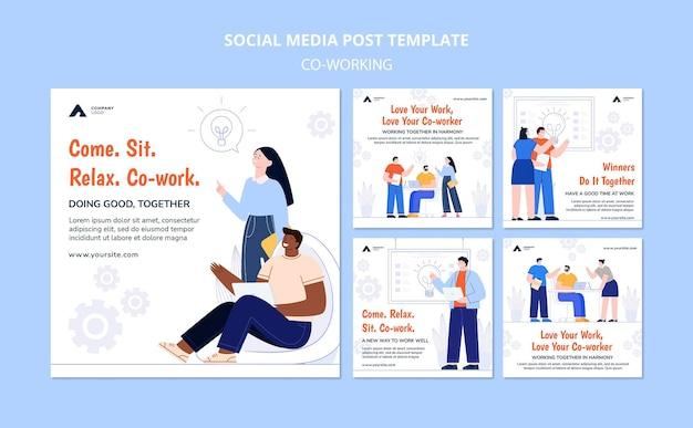 Trabalhando juntos na postagem de mídia social