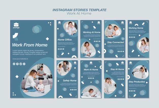 Trabalhar na coleção de histórias do instagram em casa