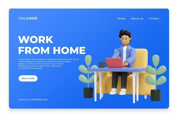 Trabalhe em casa para a página inicial da página de destino renderização 3d premium psd
