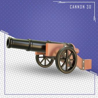 Traçado de recorte de canhão 3d isolado