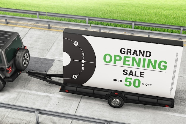 Trailer de anúncio de outdoor móvel na maquete de estrada