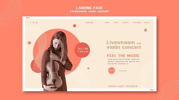 Transmissão ao vivo da página inicial do show de violino