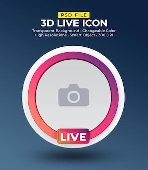 Transmissão ao vivo de avatar de ícone de mídia social 3d