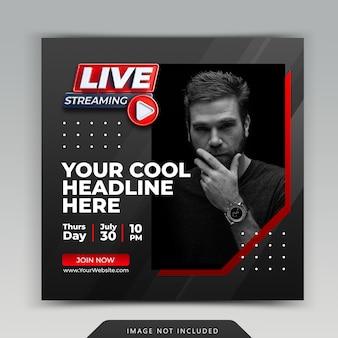 Transmissão ao vivo no instagram post modelo de postagem em mídia social