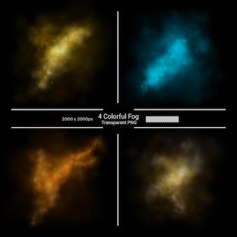 Transparência de névoa de nuvens coloridas premium psd