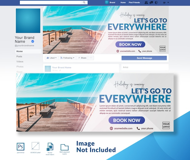 Travelling discount offer banner modelo de capa de mídia social