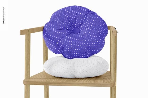 Travesseiro redondo com maquete de botão, perspectiva