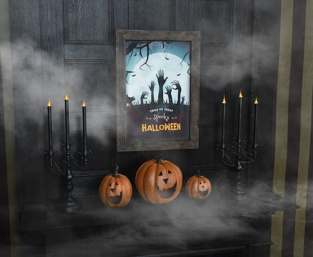 Travessuras ou gostosuras assustadoras de halloween e abóboras