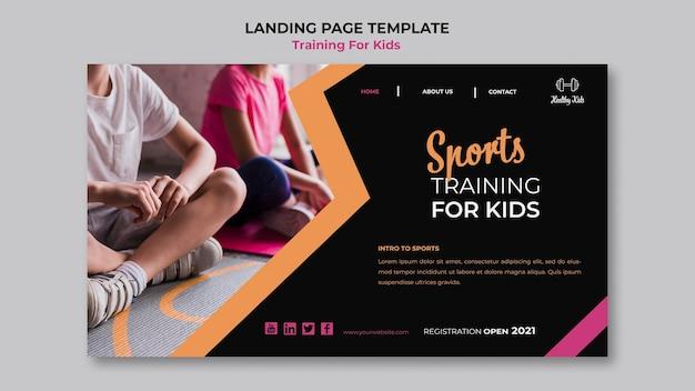 Treinamento para crianças no design da página de destino