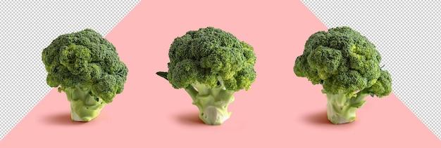 Três brócolis em fundo rosa