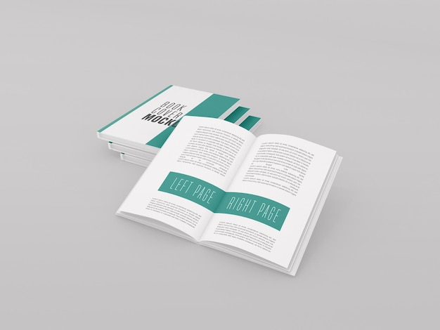 Três capa dura com modelo de livro aberto