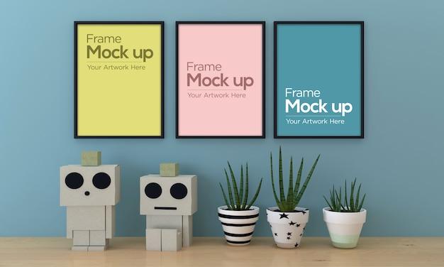 Três crianças moldura design de maquete com robô de papel e planta