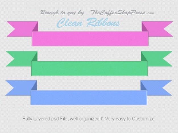 Três fitas coloridas psd gráfico