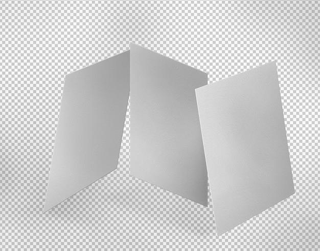 Três folhas de papel branco isoladas
