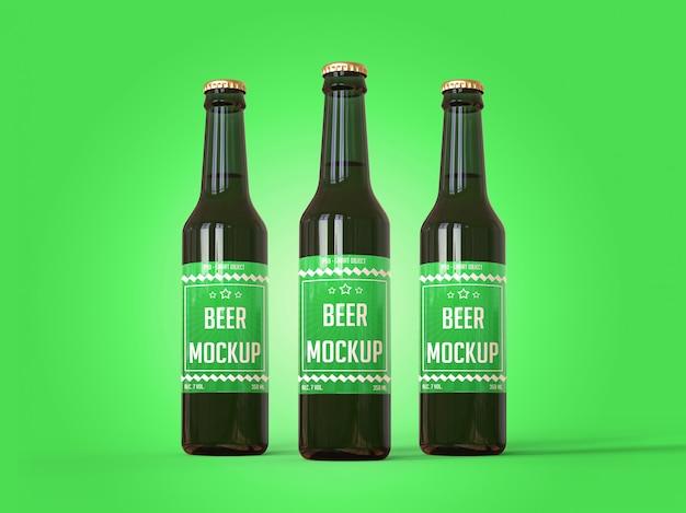 Três garrafas de cerveja com uma maquete de rótulo