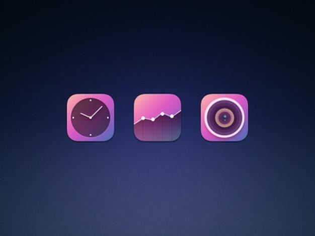 Três ícones iphone psd