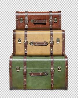 Três malas vintage empilhadas isoladas