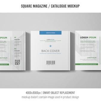 Três maquetes quadradas de revistas ou catálogos